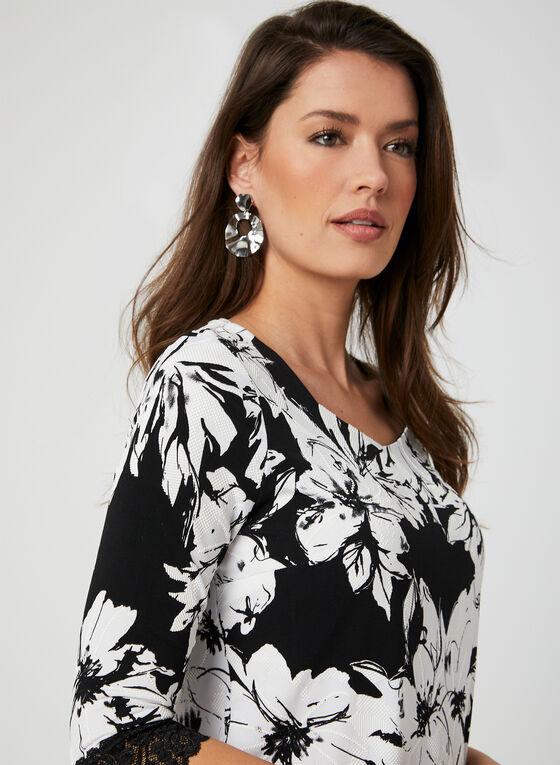 Floral Print Jersey Top, Black