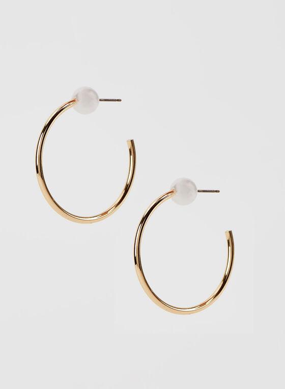 Pearl Stud Hoop Earrings, Off White, hi-res