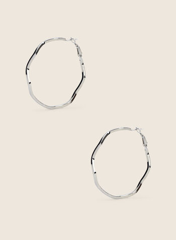 Wavy Hoop Earrings, Silver,  earrings, hoops, wavy, metallic, spring summer 2020