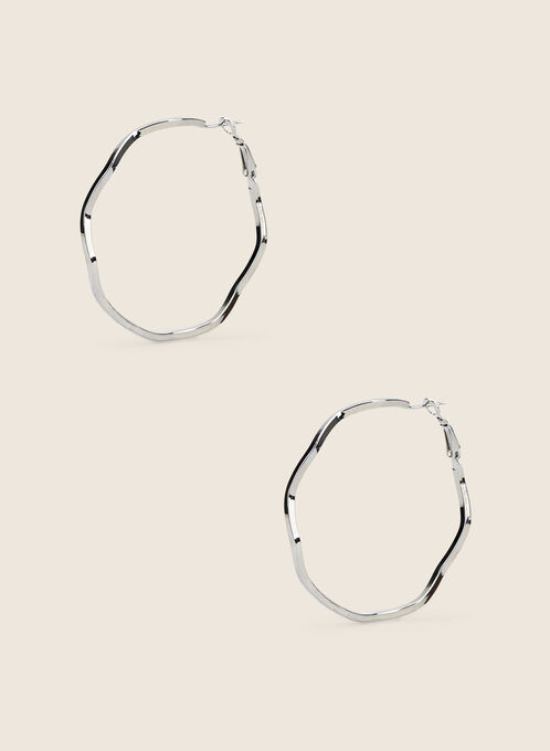 Wavy Hoop Earrings, Silver