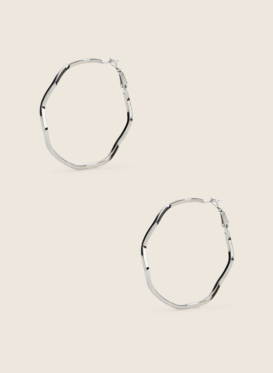 Wavy Hoop Earrings, Silver