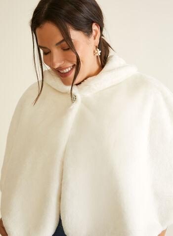 Short Faux Fur Cape, Off White,  fall winter 2020, outerwear, cape, coat, fall, faux fur