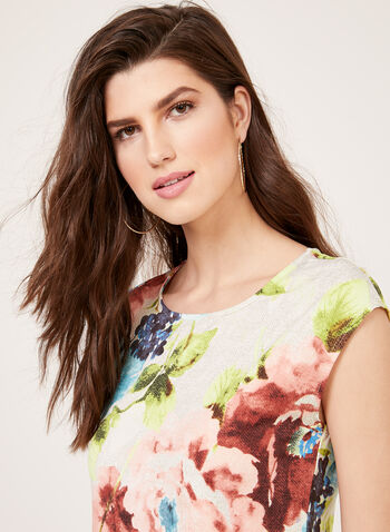 Floral Print Sleeveless Jersey Top, Blue, hi-res