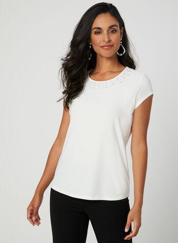 Haut à col perlé et manches courtes, Blanc cassé, hi-res,  t-shirt, col perlé, manches courtes, jersey, ajour, automne hiver 2019
