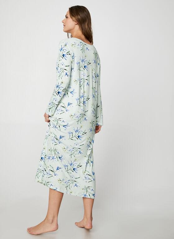 Bellina - Chemise de nuit longue motif floral, Blanc cassé