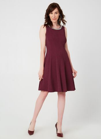 Crystal Trim Fit & Flare Dress, Red, hi-res,  Fall winter 2019, fit & flare, Crystal detail, textured, sleeveless, cocktail, evening dress