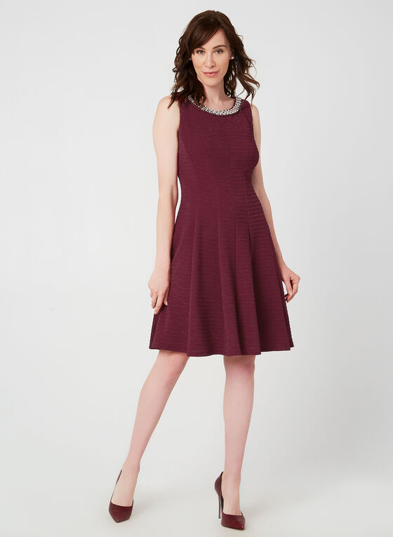 Crystal Trim Fit & Flare Dress, Red, hi-res