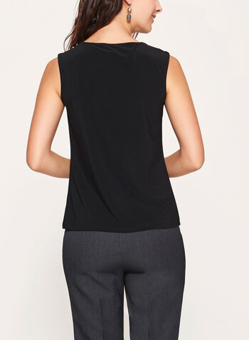 Metallic Detail Sleeveless Top, Black, hi-res