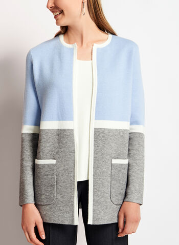 Cardigan ouvert à bordures contrastantes, Bleu, hi-res