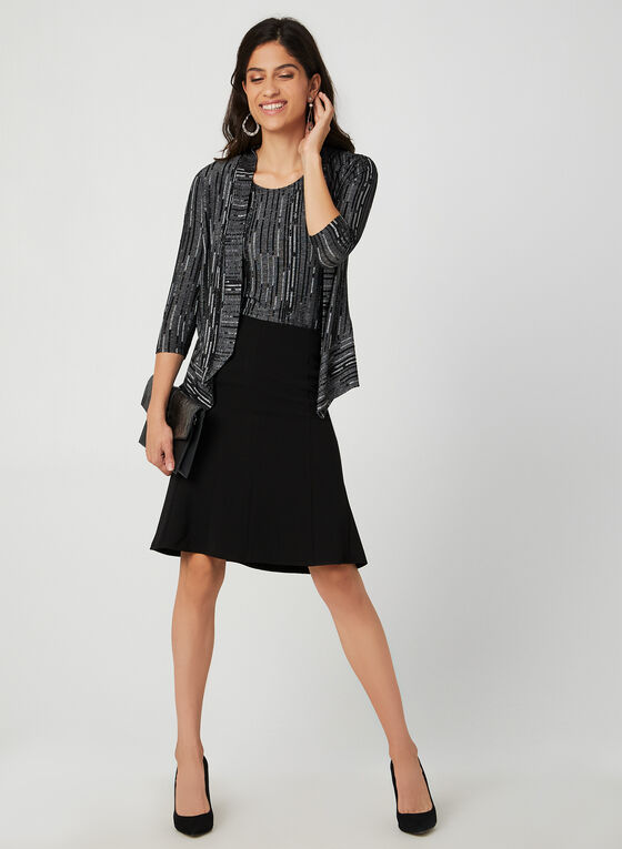 Jacquard Double Knit Top, Black