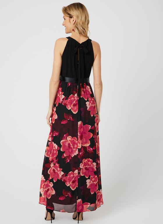 Robe à col cléopâtre et jupe fleurie, Noir