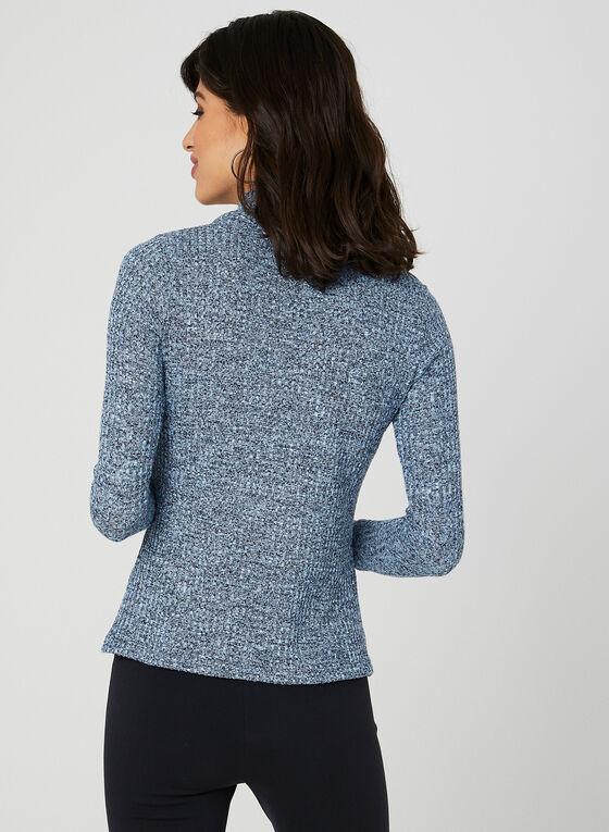 Haut à col roulé en tricot, Bleu, hi-res