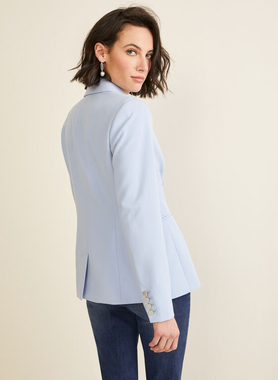 Notch Collar Single-Button Jacket, Blue
