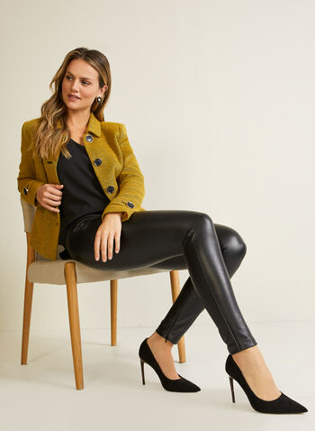 Legging en cuir végane , Noir,  legging, cuir végane, pull-on, zip, automne hiver 2020