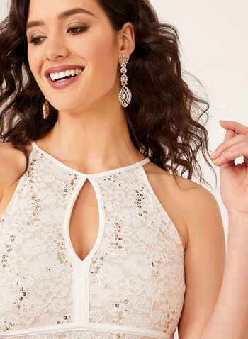 Sequin Lace Keyhole Neckline Dress, Off White, hi-res