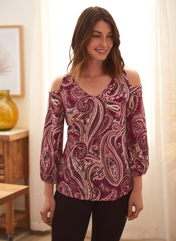 Paisley Print Cold Shoulder Top, Purple,  spring summer 2021, made in Canada, paisley print, cold shoulder, top, blouse, V neck, 3/4 sleeve, balloon sleeve