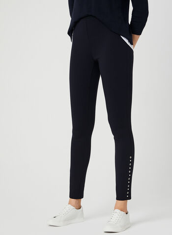 Eyelet Detail Leggings, Blue, hi-res