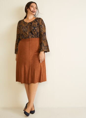 Paisley Print Top, Blue,  Fall winter 2020, made in canada, long flared sleeves, rounded v-neck, jacquard