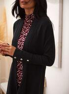 Cardigan en tricot à ourlet asymétrique, Noir