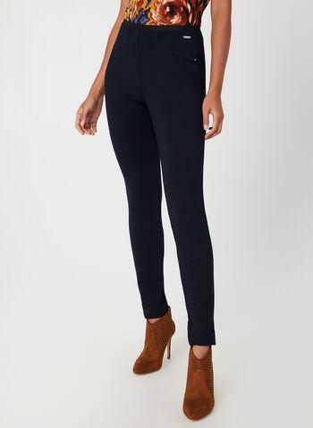 Legging à taille pull-on, Bleu,  automne hiver 2019, legging, pantalon, jambe étroite, pull-on, taille élastique, point de Rome, surpiqûres