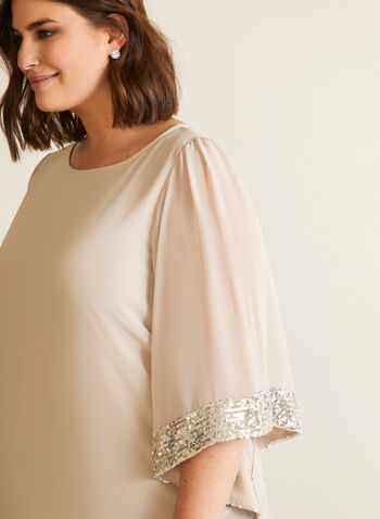 Joseph Ribkoff - Embellished Kimino Sleeve Blouse, Off White,  top, blouse, kimono, sequin, chiffon, fall winter 2020