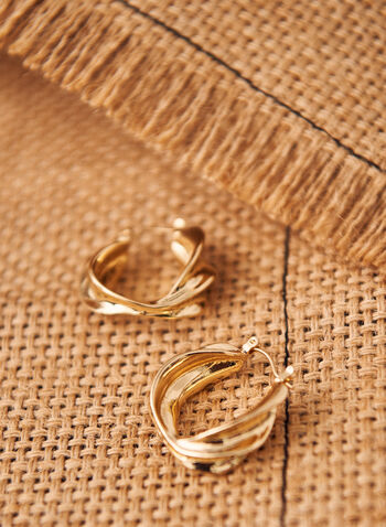Wavy Hoop Earrings, Gold,  spring 2021, jewelry, jewellery, earrings, accessories, evening, wavy hoop, golden, gold tone, metallic