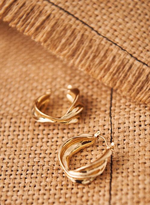 Wavy Hoop Earrings, Gold