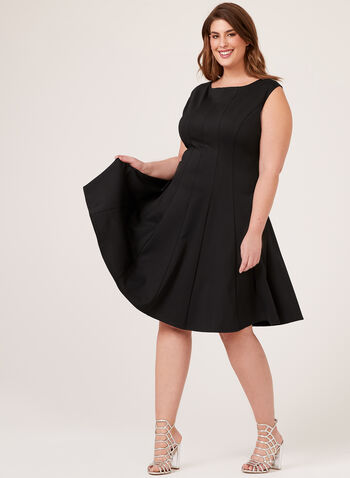 Sleeveless Fit & Flare Dress, Black, hi-res