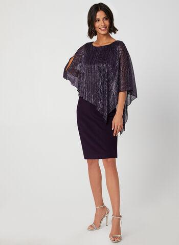Robe poncho à fibres métallisées, Violet, hi-res,  robe cocktail, poncho, plissé, fibres métallisées, épaules ajourées, jersey, automne hiver 2019