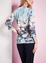3/4 Sleeve Floral Burnout Top, Blue, hi-res