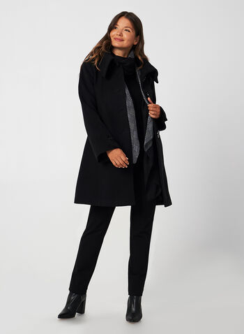 Manteau aspect laine à manches évasées, Noir, hi-res,  manteau, col enveloppe, aspect laine, manches évasées, boutons, automne hiver 2019