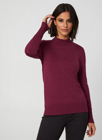 Mock Neck Sweater, Purple, hi-res,  fall winter 2019, knit, mock neck, pointelle, long sleeves, sweater
