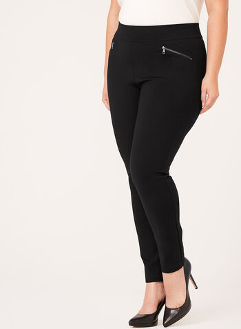Pull-On Zipper Trim Ponte Leggings, Black, hi-res