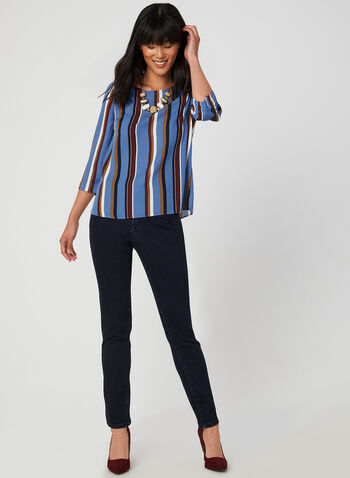 Stripe Print Blouse, Blue, hi-res,  blouse, stripe print, crepe, 3/4 sleeves, fall 2019, winter 2019