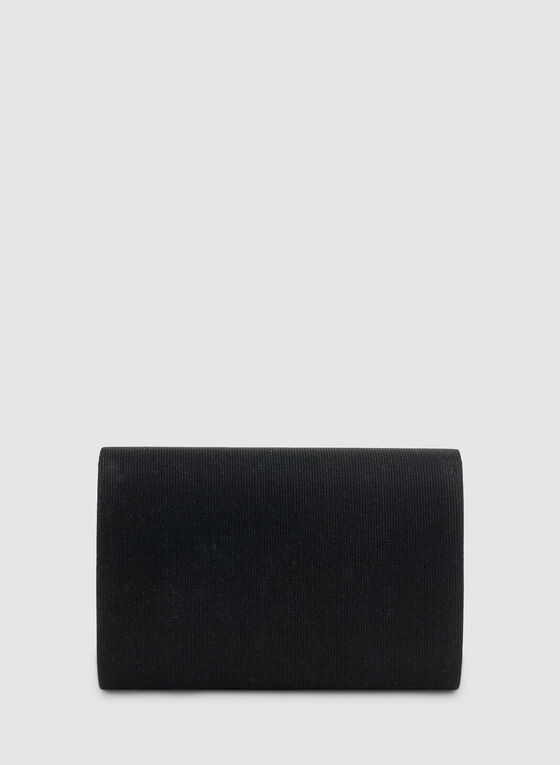 Flap Glitter Clutch, Black, hi-res
