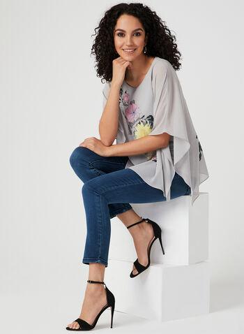 Floral Print Poncho Blouse, Grey, hi-res,  poncho, floral, chiffon, spring 2019, asymmetrical, blouse
