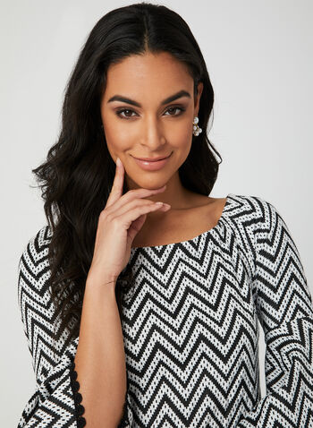 Zigzag Print Bell Sleeve Dress, Black, hi-res