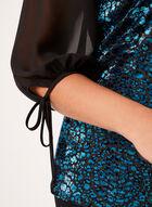 Chiffon Sleeve Velvet Top , Blue, hi-res