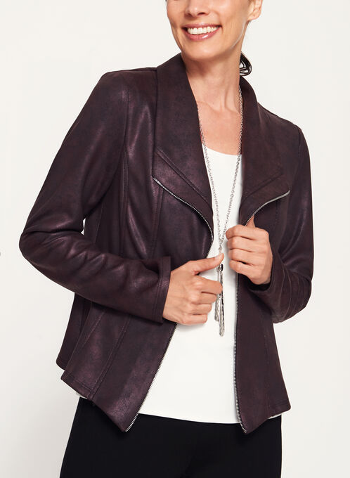 Faux Leather Scuba Knit Jacket, Purple, hi-res