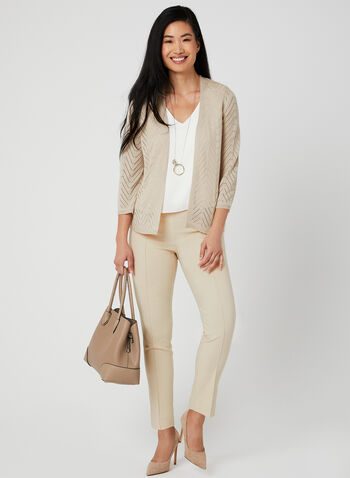 Open Front Cardigan , Off White, hi-res