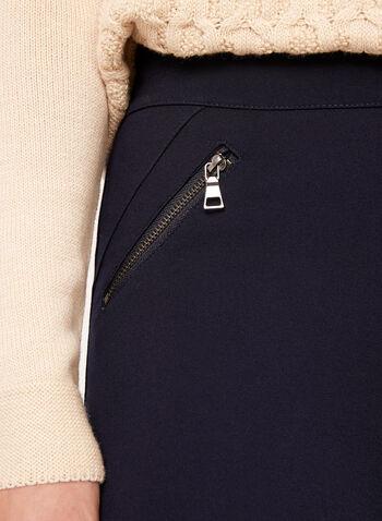 Pull-On Zipper Trim Ponte Leggings, Blue, hi-res
