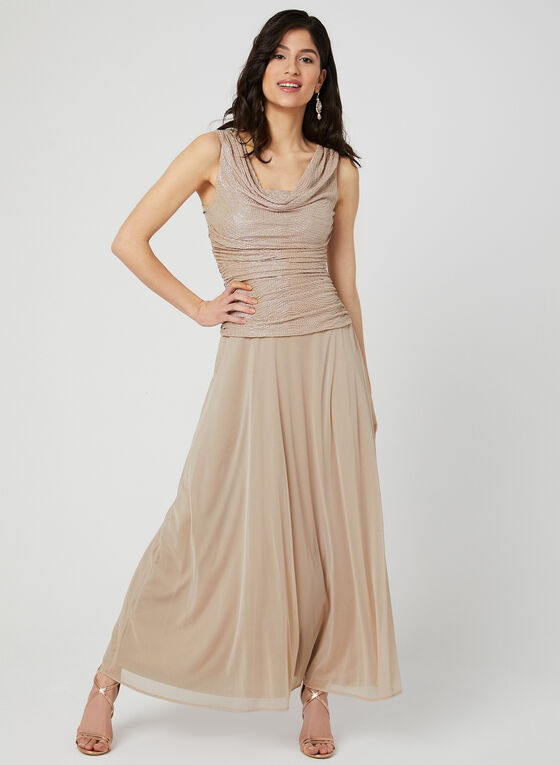 Sleeveless Cowl Neck Dress, Pink, hi-res