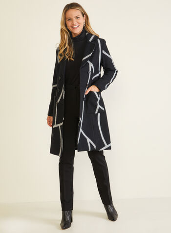 Abstract Print Notched Collar Coat, Black,  coat, wool blend, abstract, notched collar, double-breasted, fall winter 2020