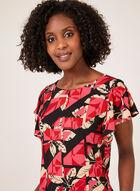 Floral Print Drop Shoulder Top, Black, hi-res