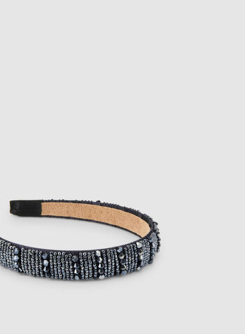 Beaded Satin Headband, Blue,  headband, satin headband, beaded headband, fall 2019, winter 2019