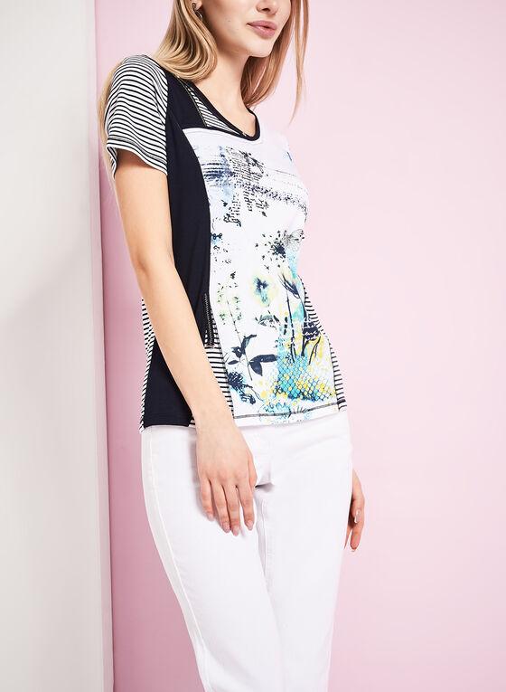 Mixed Media Printed T-Shirt, Blue, hi-res