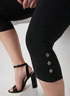 Polka Dot Print Capri Pants, Black