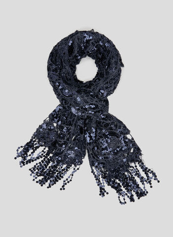 Sequin Crochet Scarf, Blue, hi-res