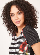Vex – Polka Dot Floral Stripe Top, Black, hi-res