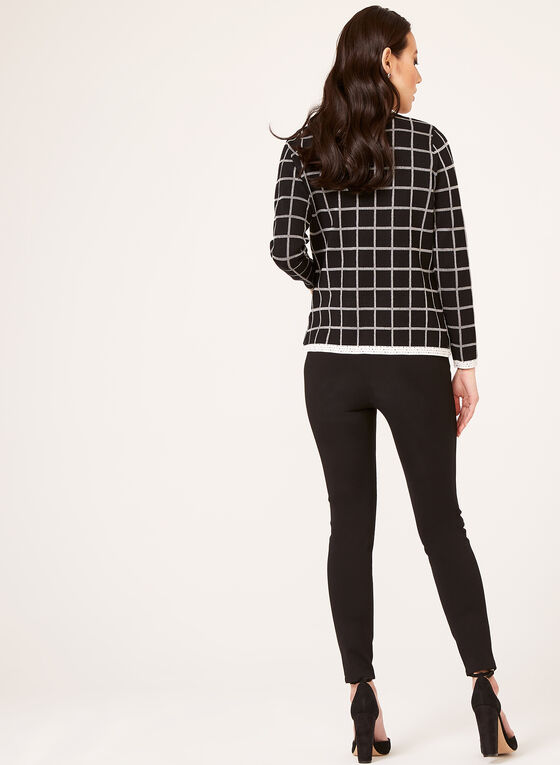 Alison Sheri - Check Print Knit Cardigan , Black, hi-res